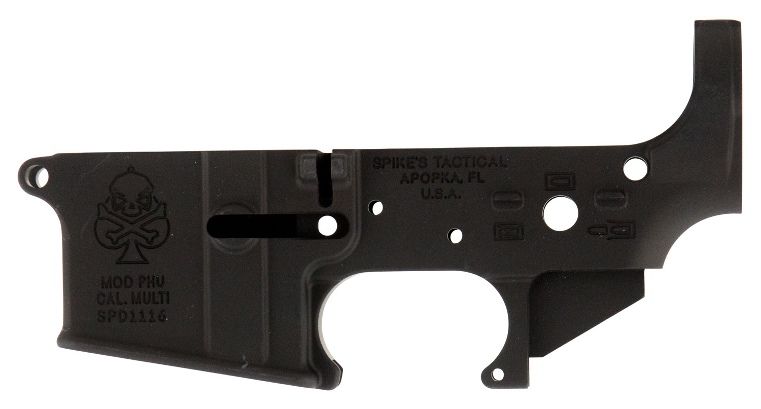 Spikes STLS029 Stripped Lower PHU with Spade AR Platform Rifle Multi-Caliber Black Hardcoat Anodized
