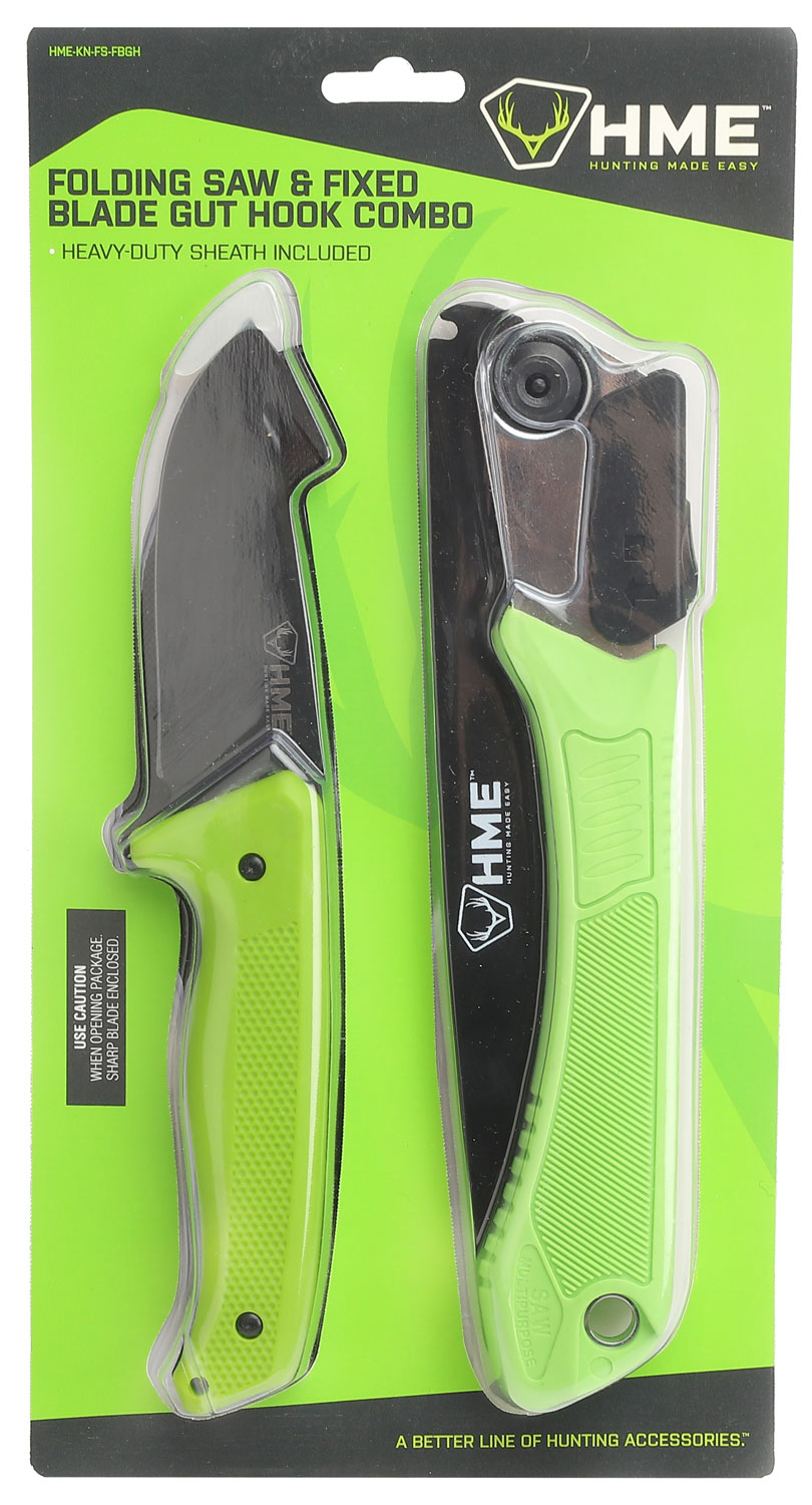 HME HMEKNFSFB Saw and Knife 420HC Stainless Steel Black Oxide Gut Hook/Saw Thermoplastic Rubber Green
