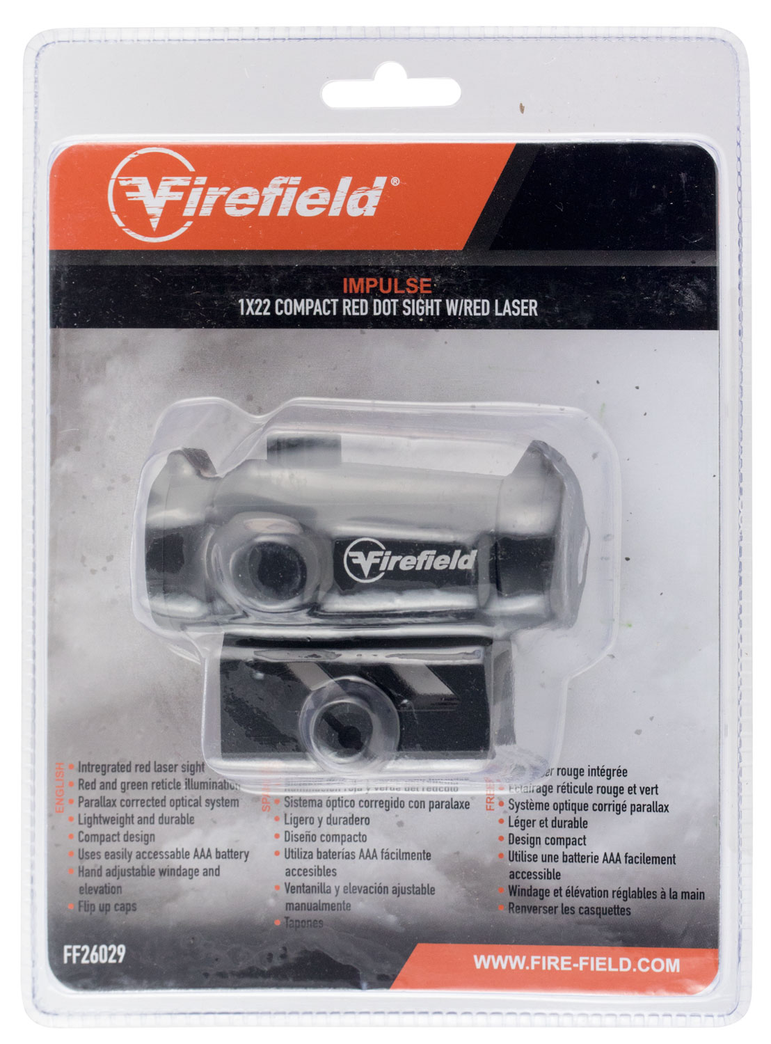 Firefield FF26029 Impulse Compact Red Dot Sight w/Red Laser  1x 22mm Obj Illuminated Circle Dot Red/Green Black Matte CR2032 (1)
