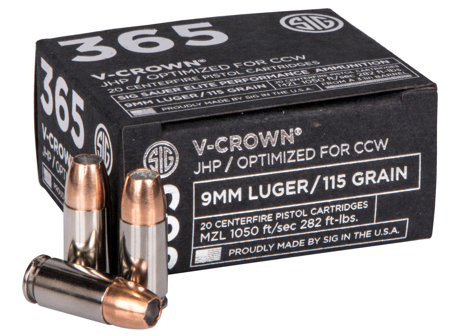 Sig Sauer E9MMA136520 V-Crown  9mm Luger 115 GR Jacketed Hollow Point 20 Bx/ 10 Cs