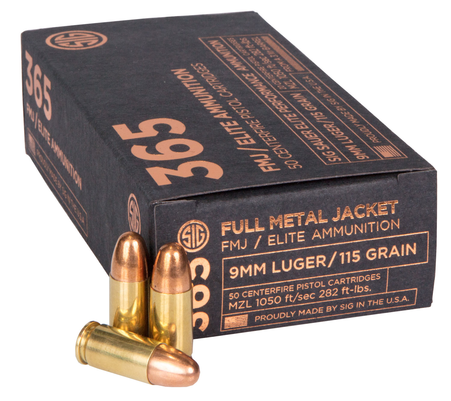 Sig Sauer E9MMB136550 Elite Ball FMJ 9mm Luger 115 GR Full Metal Jacket 50 Bx/ 20 Cs