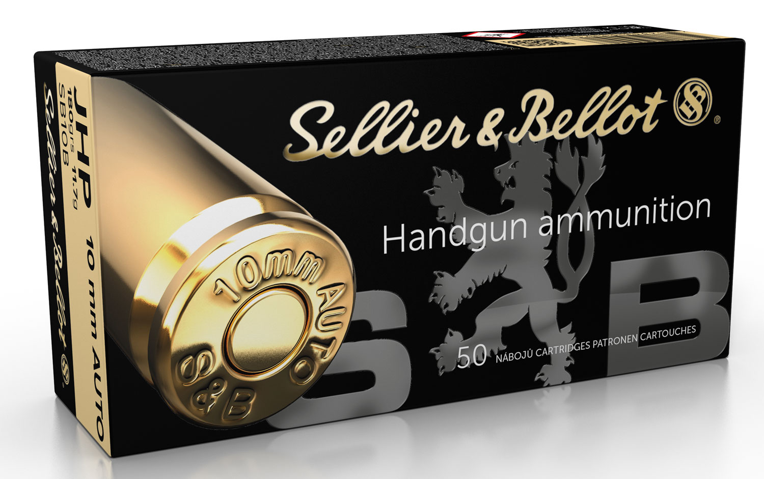 Sellier & Bellot SB10B Training & Practice Pistol & Revolver Cartridges 10mm Automatic 180 GR Jacketed Hollow Point 50 Bx/ 20 Cs