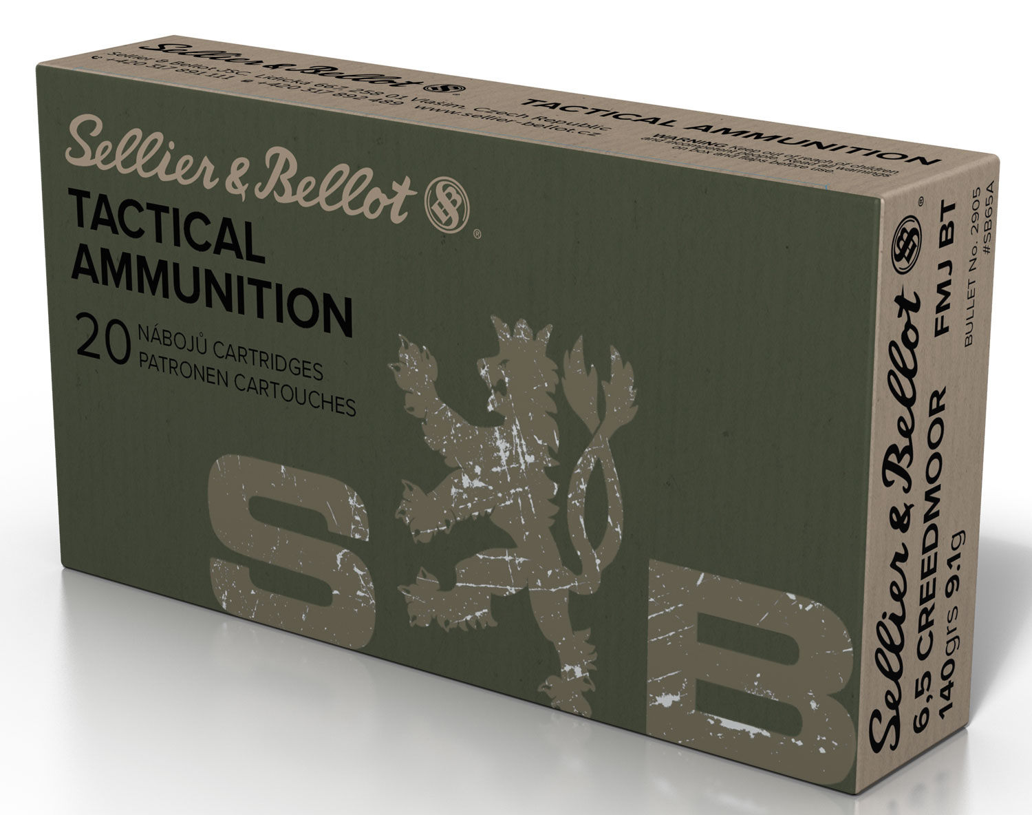 Sellier & Bellot SB65A Rifle   6.5 Creedmoor 140 GR Full Metal Jacket Boat Tail 20 Bx/ 25 Cs