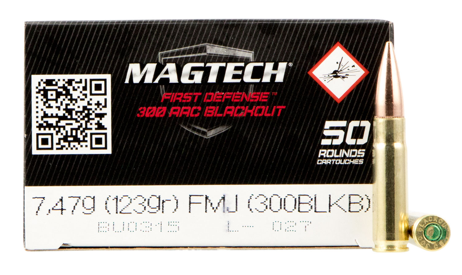 Magtech 300BLKB Rifle Training 300 AAC Blackout/Whisper (7.62x35mm) 123 GR Full Metal Jacket 50 Bx/ 20 Cs