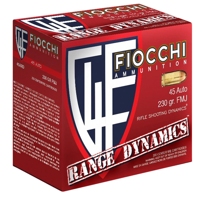 Fiocchi 45ARD Range Dynamics Pistol 45 Automatic Colt Pistol (ACP) 230 GR Full Metal Jacket 200 Bx/ 3 Cs