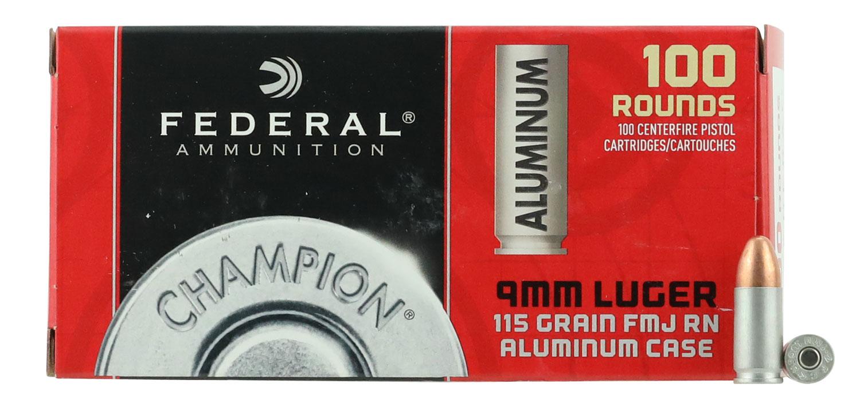 Federal CAL9115100 Champion Value Pack  9mm Luger 115 GR Full Metal Jacket 100 Bx/ 10 Cs