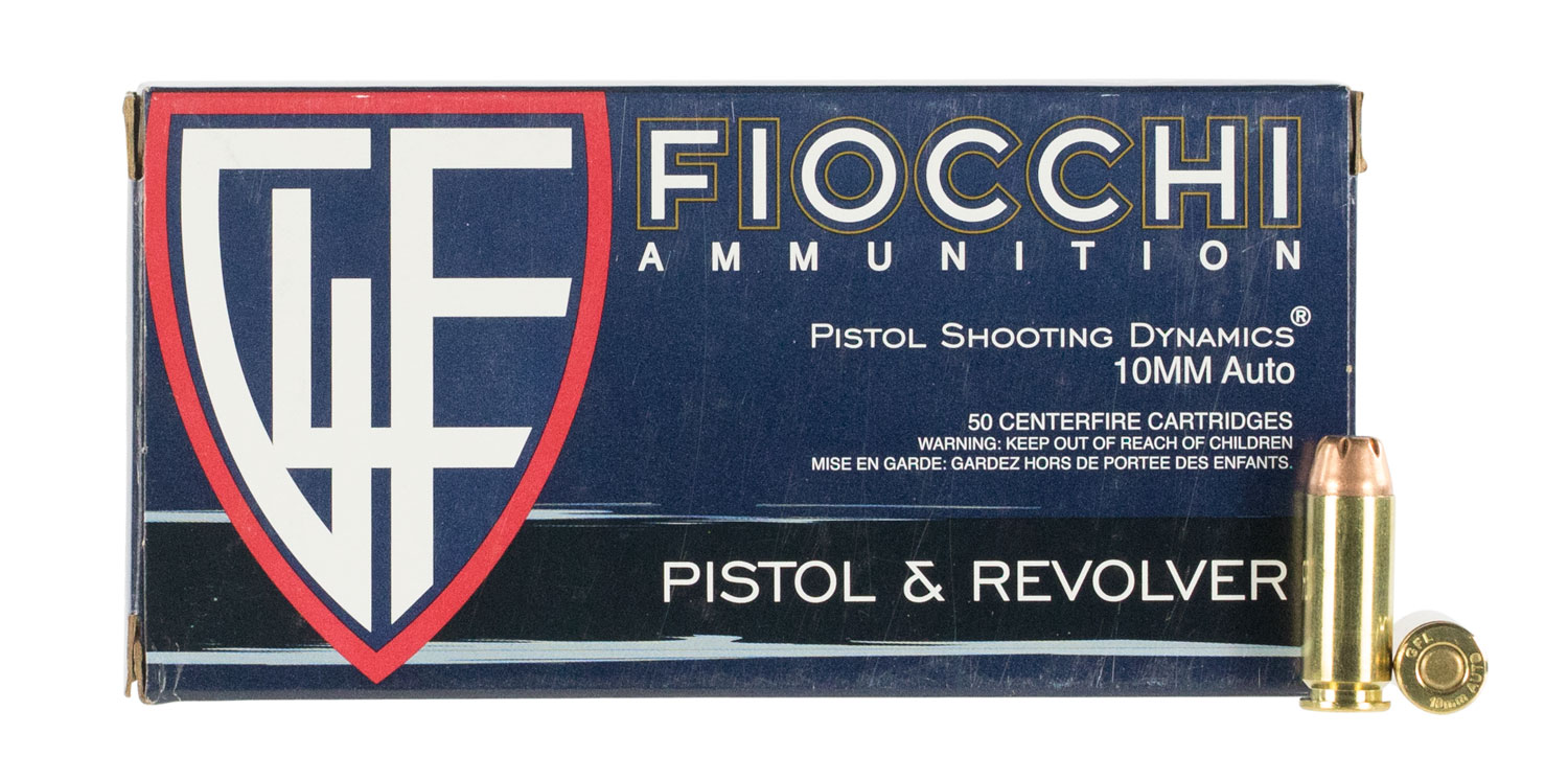 Fiocchi 10APHP Shooting Dynamics Pistol 10mm 180 GR Jacketed Hollow Point 50 Bx/ 10 Cs