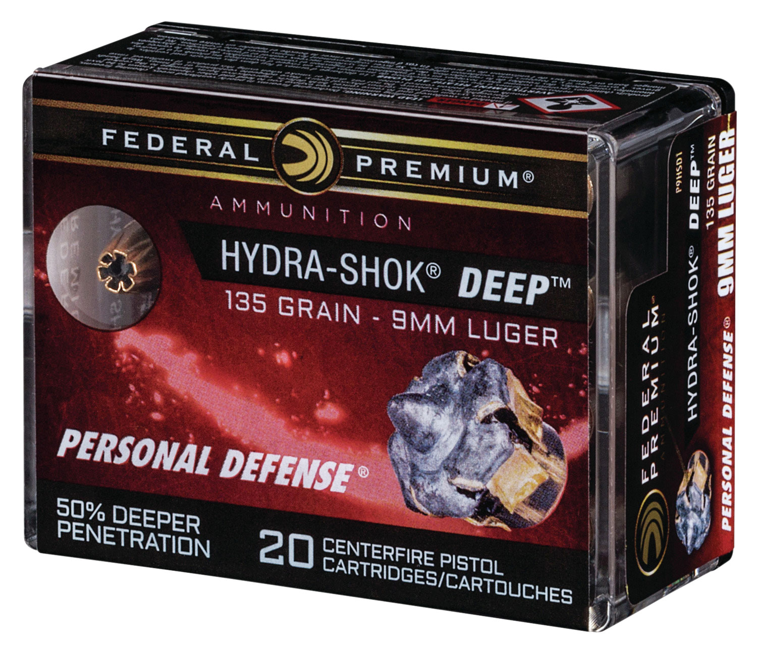 Federal P9HSD1 Premium Personal Defense 9mm Luger 135 GR Hydra-Shok Deep Hollow Point (HSHK HP) 20 Bx/ 10 Cs
