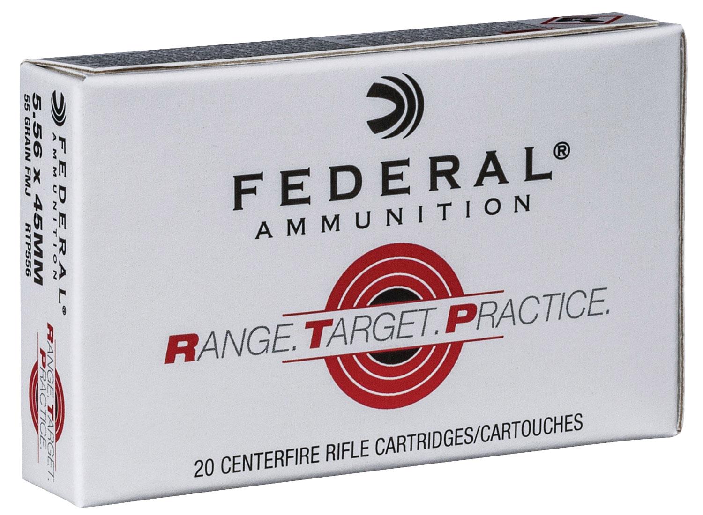 Federal RTP556 Range and Target Rifle 223 Remington/5.56 NATO 55 GR Full Metal Jacket 20 Bx/ 25 Cs