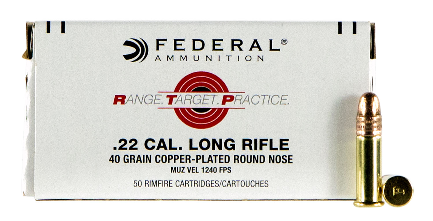 Federal RTP2240 Range and Target  22 Long Rifle (LR) 40 GR Copper-Plated Round Nose 50 Bx/ 100 Cs