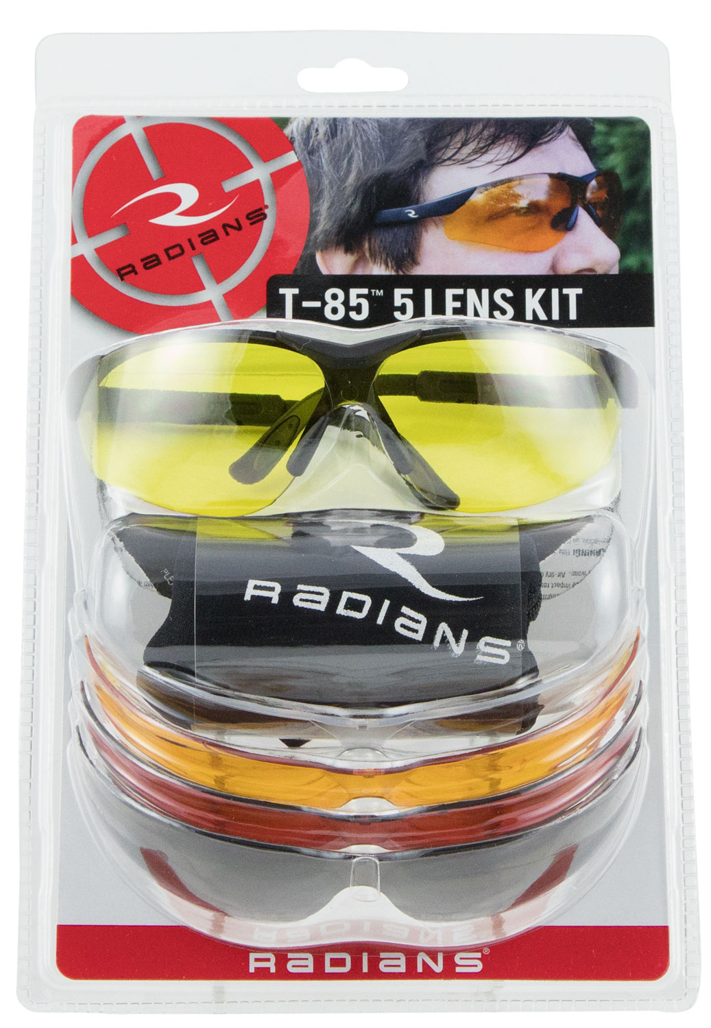 Radians T85RC T-85 Glasses Eye Protection Black Frame Clear/Orange/Amber/Copper/Smoke Polycarbonate Lens 1 Pair Frame/5 Lenses