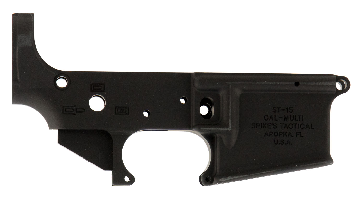Spikes STLS045 Stripped Lower  Multi-Caliber Black Hardcoat Anodized 7075 T6 Aluminum