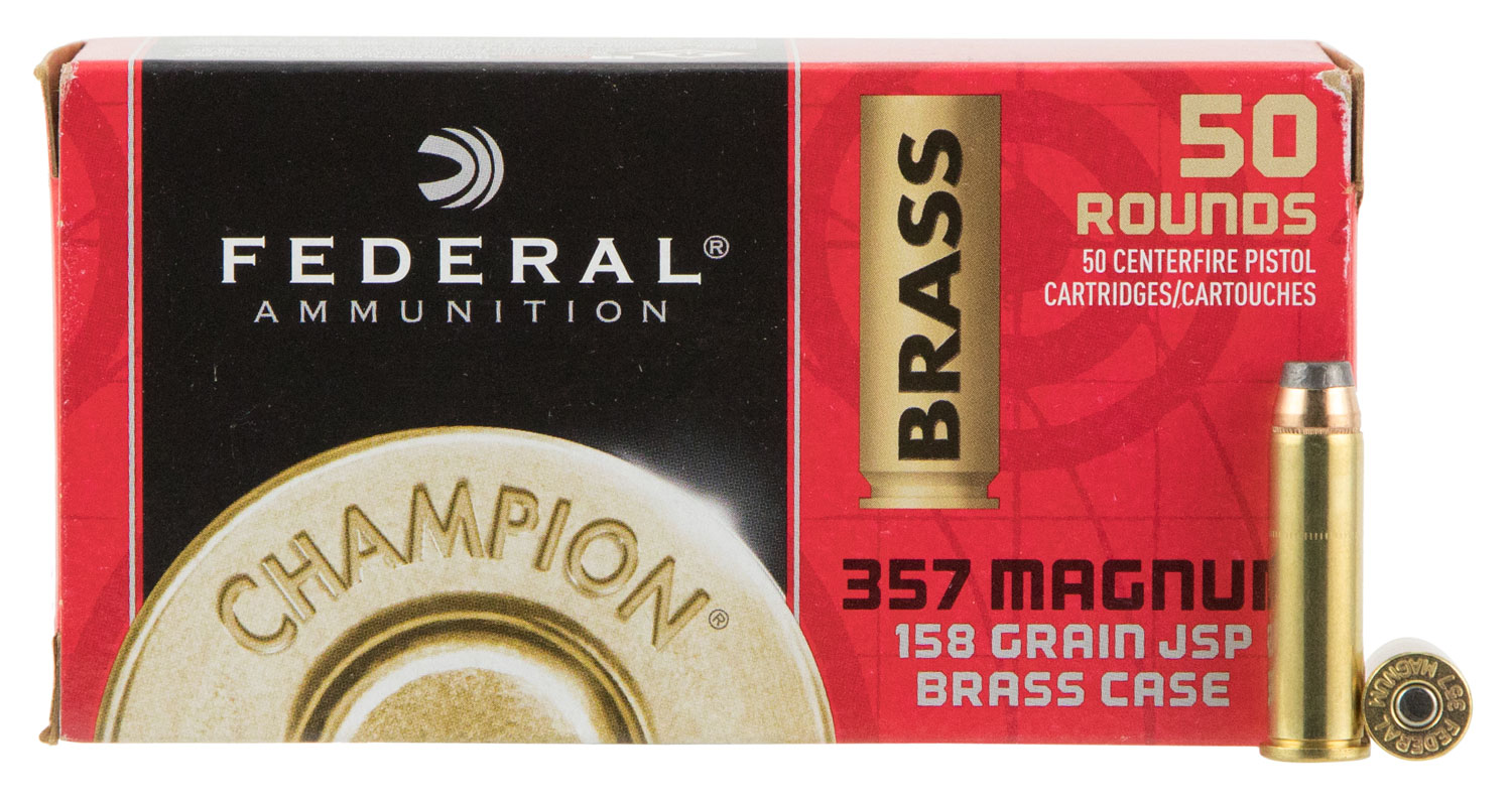 Federal WMAE357A Champion   357 Magnum 158 GR Jacketed Soft Point 50 Bx/ 8 Cs