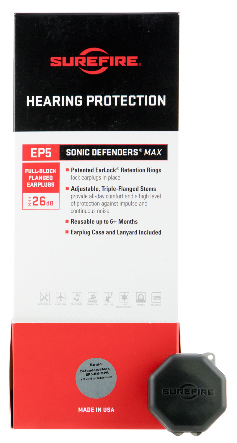 Surefire EP5BKMPRBULK EP5 Sonic Defenders Max Full-Block Flanged Earplugs Medium 26 dB Black Bulk 25 Pair