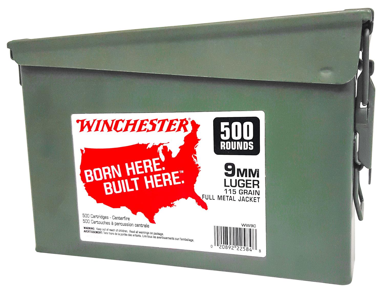 Winchester Ammo WW9C Winchester Handgun Ammo Can 9mm Luger 115 GR Full Metal Jacket 500 Bx/ 2 Cs 1000 Total