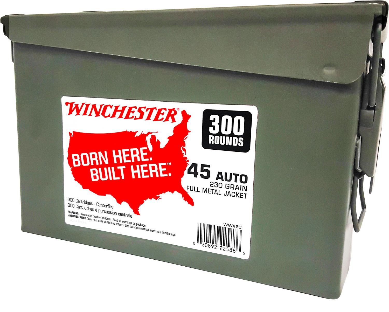 Winchester Ammo WW45C Winchester Handgun Ammo Can 45 Automatic Colt Pistol (ACP) 230 GR Full Metal Jacket 300 Bx/ 2 Cs 600 Total