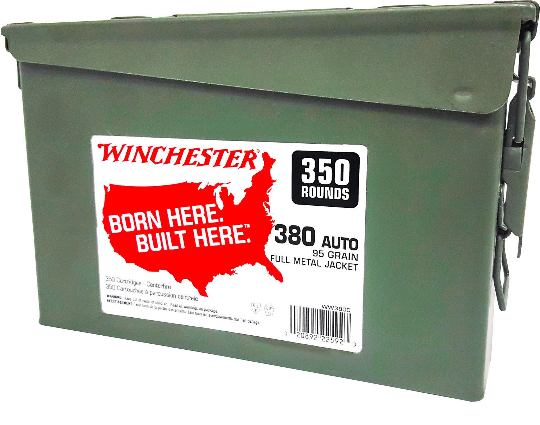 Winchester Ammo WW380C Winchester Handgun Ammo Can 380 Automatic Colt Pistol (ACP) 95 GR Full Metal Jacket 350 Bx/ 2 Cs 700 Total