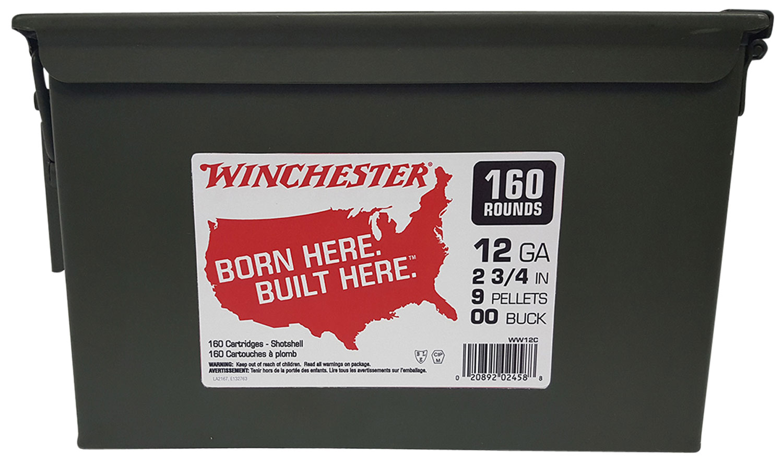 Winchester Ammo WW12C Winchester Buckshot Ammo Can 12 Gauge 2.75