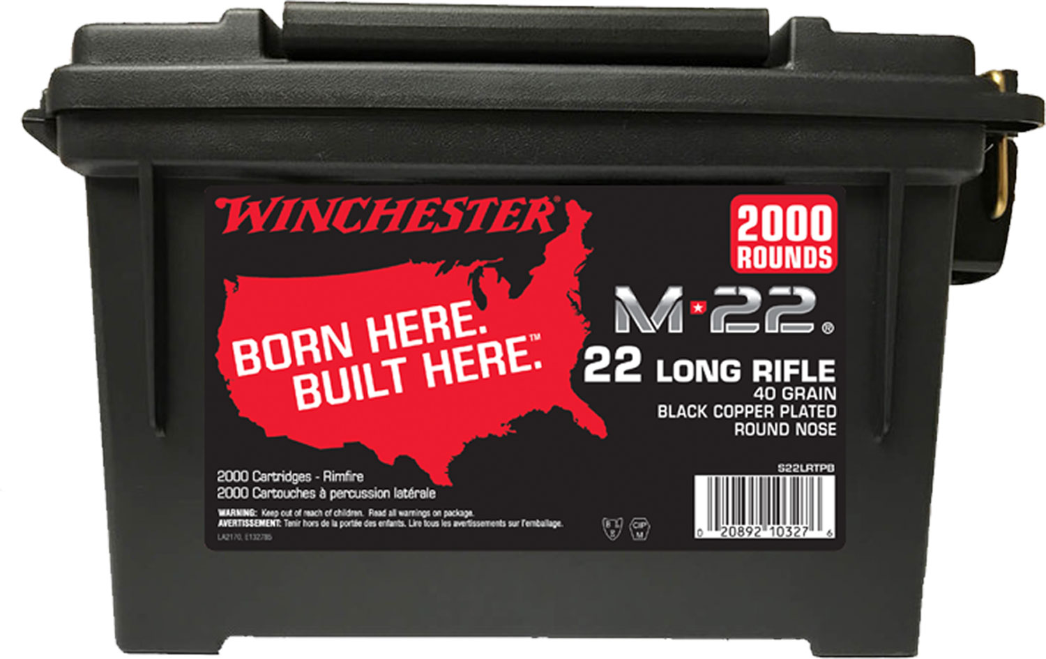Winchester Ammo S22LRTPB Winchester Rimfire Ammo Can 22 Long Rifle 40 GR Lead Round Nose 2000 Bx/ 2 Cs 4000 Total