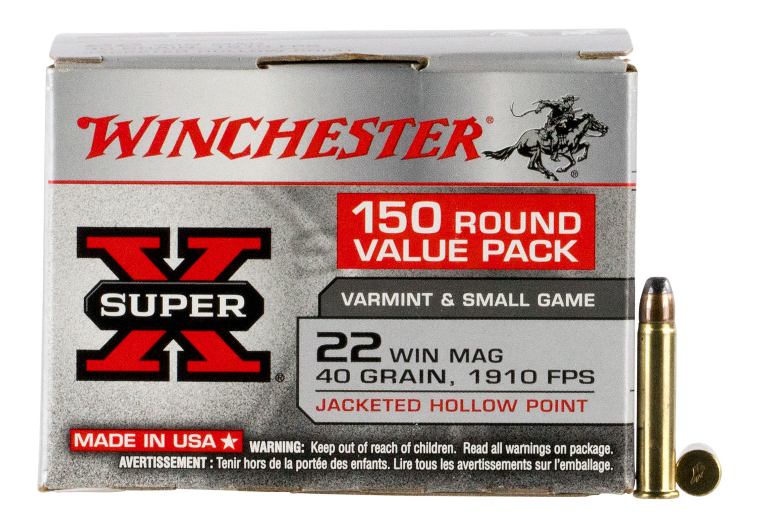Winchester Ammo X22MH150 Super-X Value Pack  22 Winchester Magnum Rimfire (WMR) 40 GR Jacketed Hollow Point 150 Bx/ 3 Cs