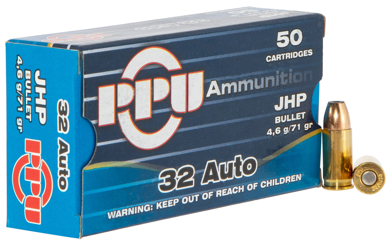 PPU PPD32A Handgun Defense  32 Automatic Colt Pistol (ACP) 71 GR Jacketed Hollow Point 50 Bx/ 20 Cs