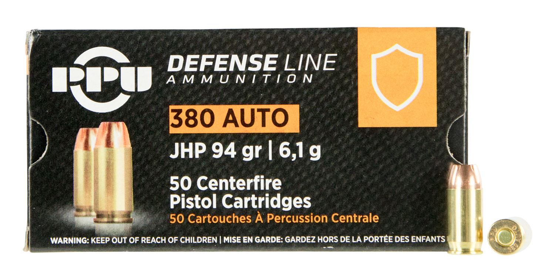 PPU PPD380A Handgun Defense  380 Automatic Colt Pistol (ACP) 94 GR Jacketed Hollow Point 50 Bx/ 20 Cs