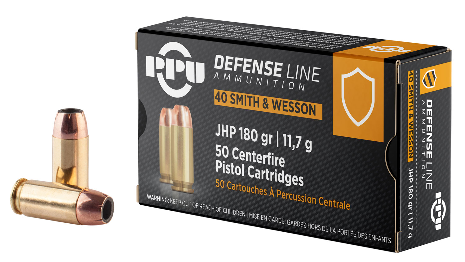 PPU PPD40 Handgun Defense  40 Smith & Wesson 180 GR Jacketed Hollow Point 50 Bx/ 10 Cs