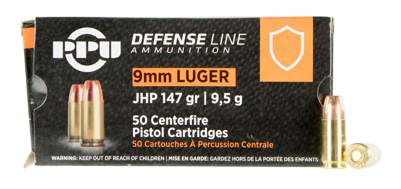 PPU PPD92 Handgun Defense  9mm Luger 147 GR Jacketed Hollow Point 50 Bx/ 20 Cs