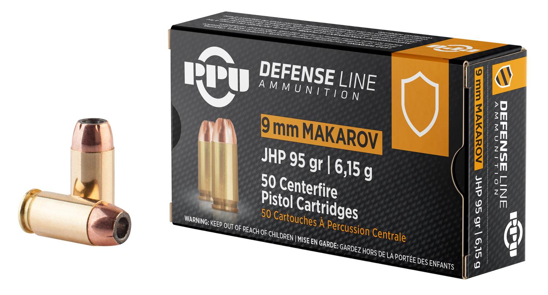 PPU PPD9M Handgun Defense  9x18 Makarov 93 GR Jacketed Hollow Point 50 Bx/ 20 Cs