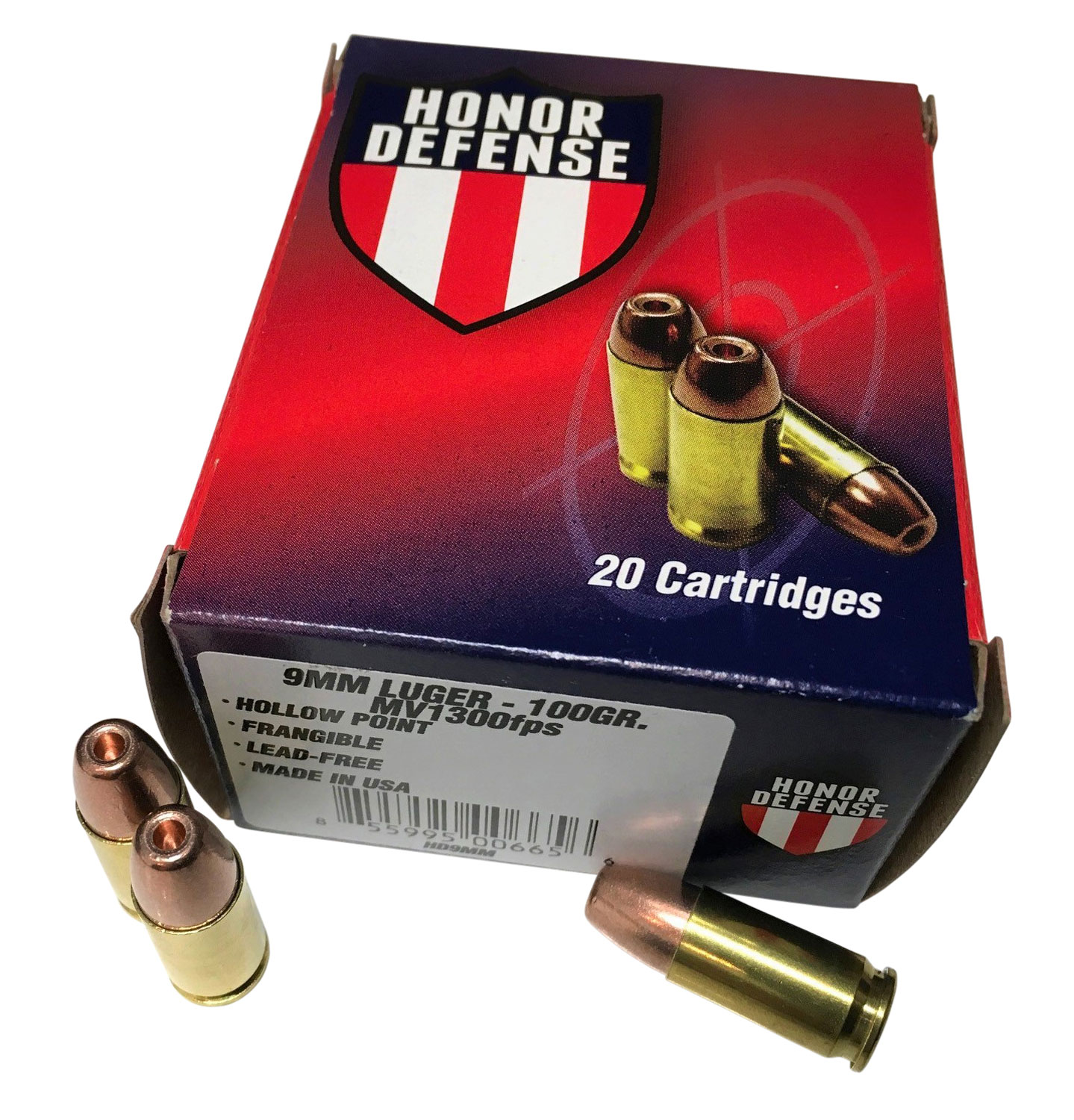 Honor Defense HD9MM    9mm Luger 100 GR Hollow Point Frangible 20 Bx/ 25 Cs