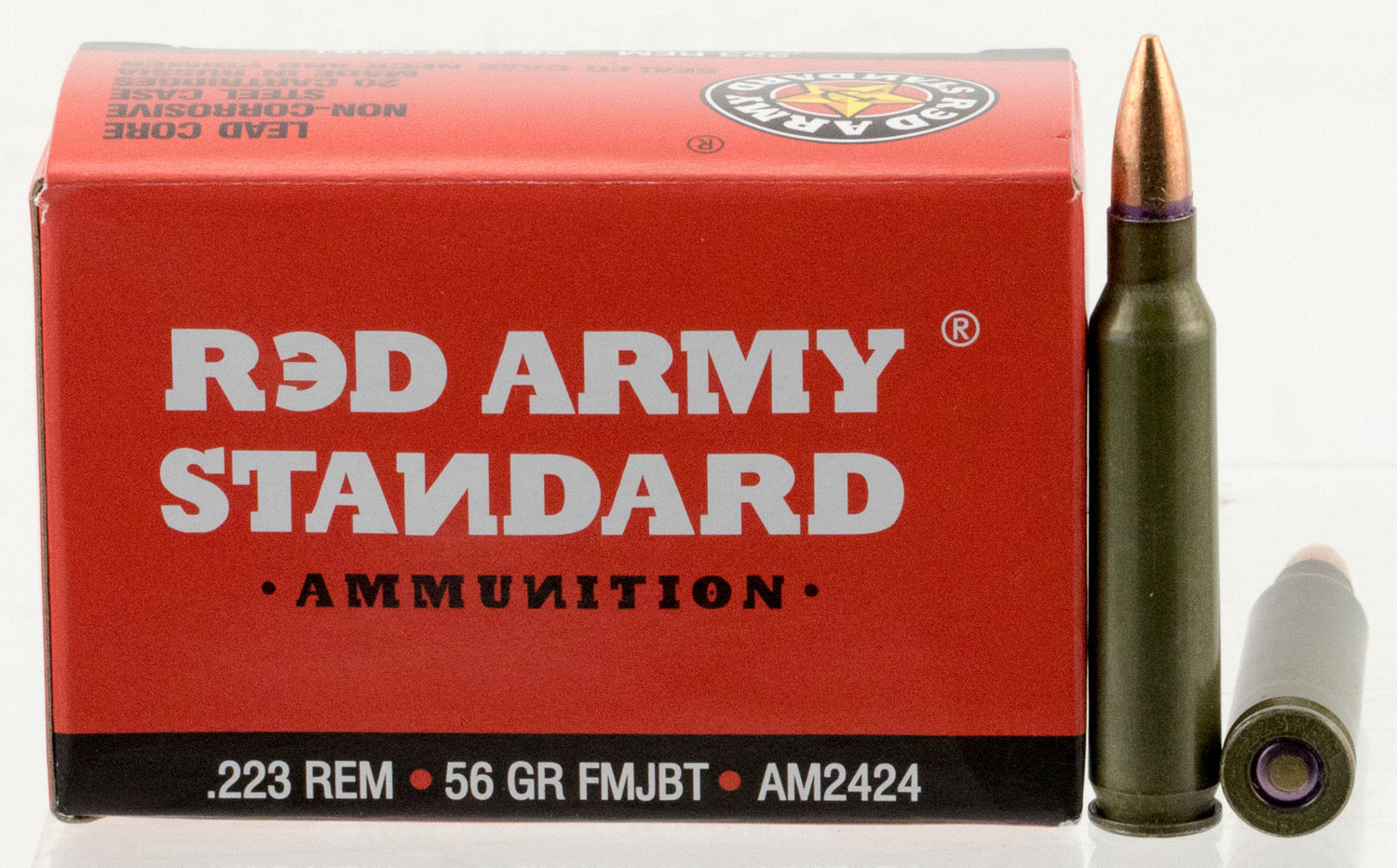 Red Army Standard AM2424 Red Army Standard   223 Remington 56 GR Full Metal Jacket Boat Tail 20 Bx/ 50 Cs