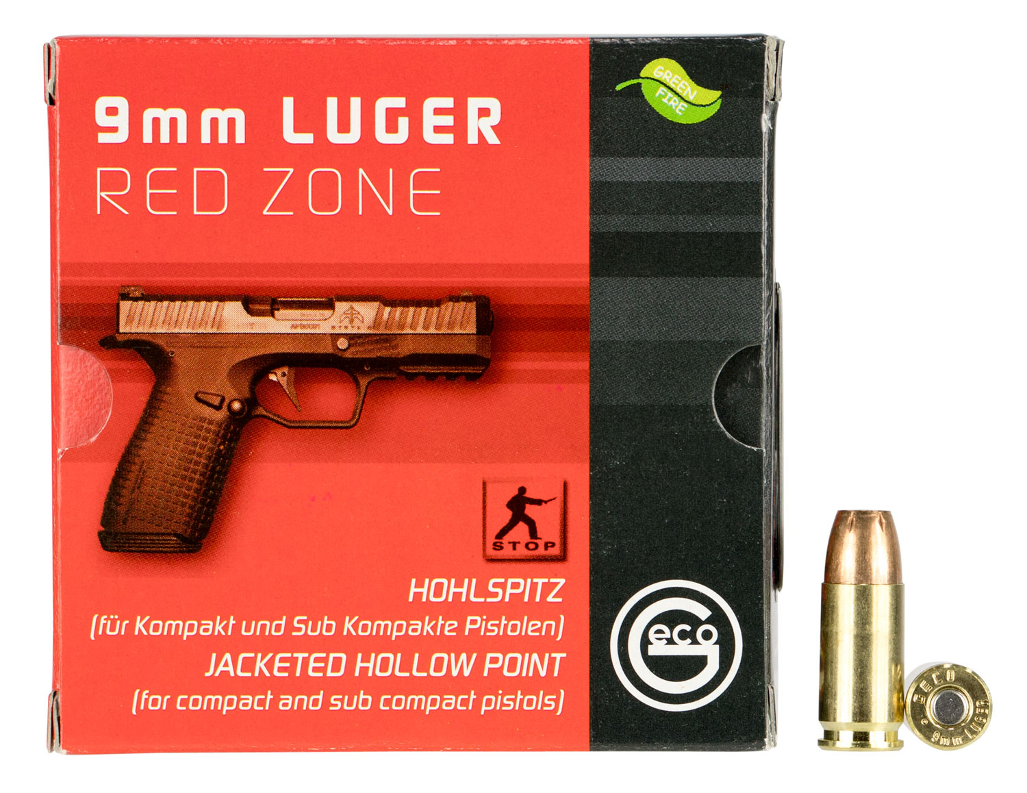 293240020 JHP Red Zone Geco  9mm Luger 124 GR Jacketed Hollow Point 20 Bx/ 30 Cs