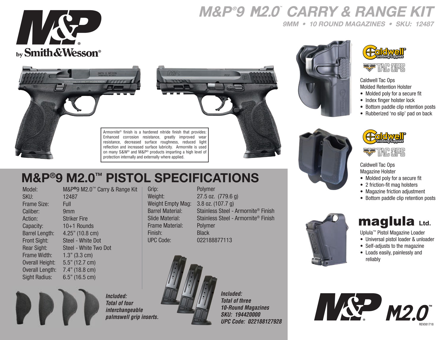 Smith & Wesson 12487 M&P 9 M2.0 Carry and Range Kit 9mm Luger Single 4.25