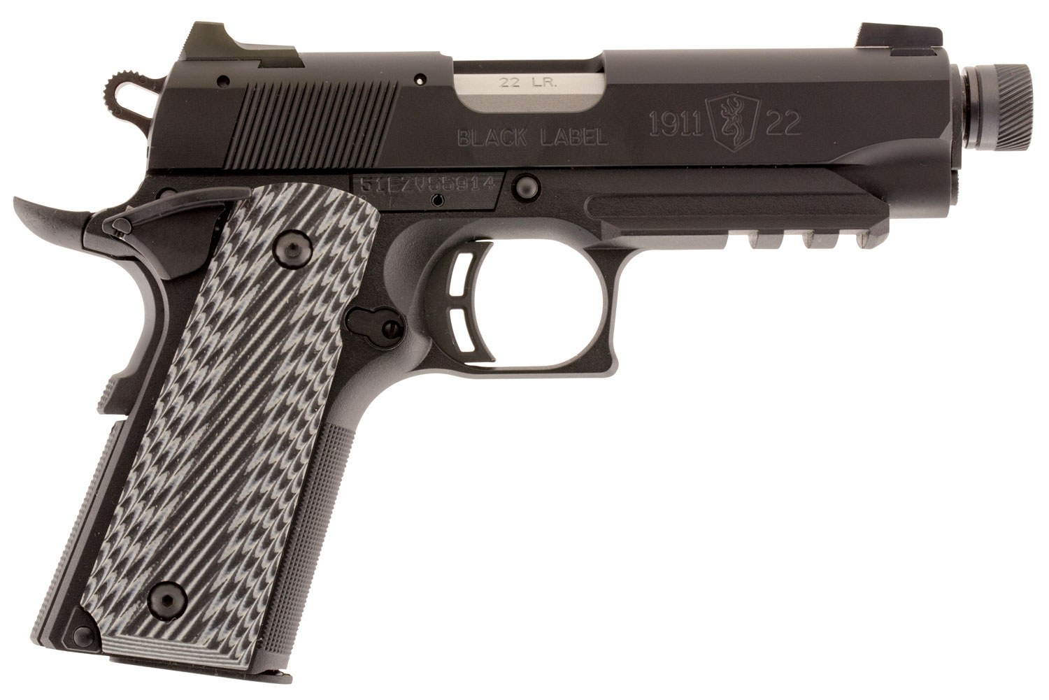 Browning 051821490 1911-22 Black Label Compact SR with Rail 22 LR 4.25