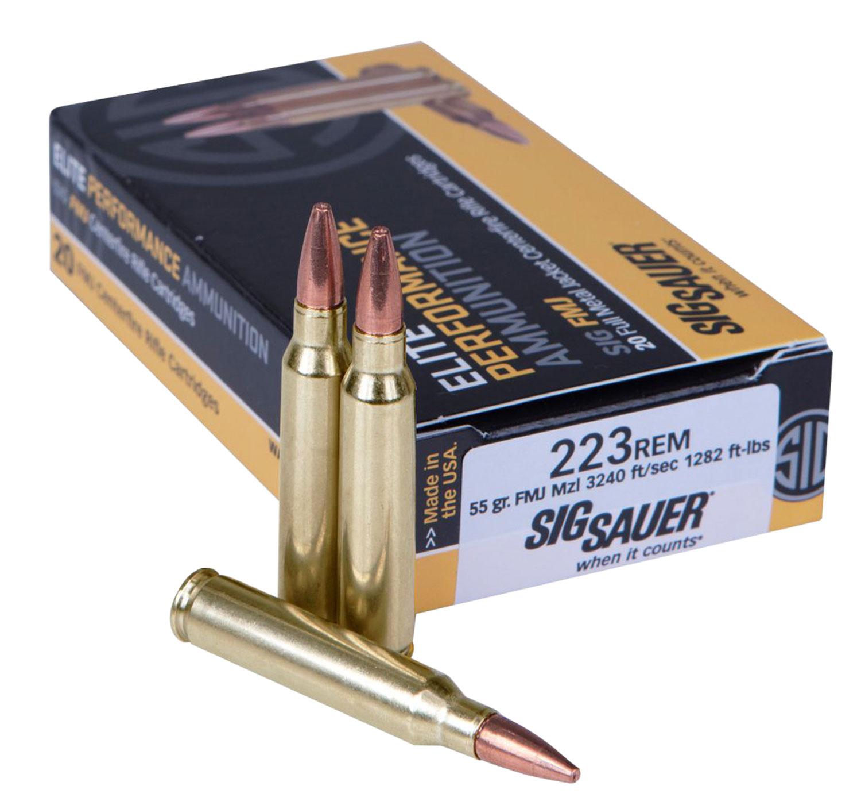 Sig Sauer E223B120 Elite Performance   223 Remington 55 GR Full Metal Jacket 20 Bx/ 25 Cs