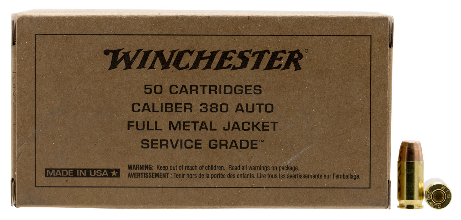 Winchester Ammo SG380W Service Grade   380 Automatic Colt Pistol (ACP) 95 GR Full Metal Jacket Flat Nose 50 Bx/ 10 Cs
