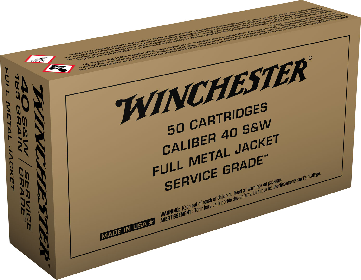 Winchester Ammo SG40W Service Grade   40 Smith & Wesson (S&W) 165 GR Full Metal Jacket Flat Nose 50 Bx/ 10 Cs
