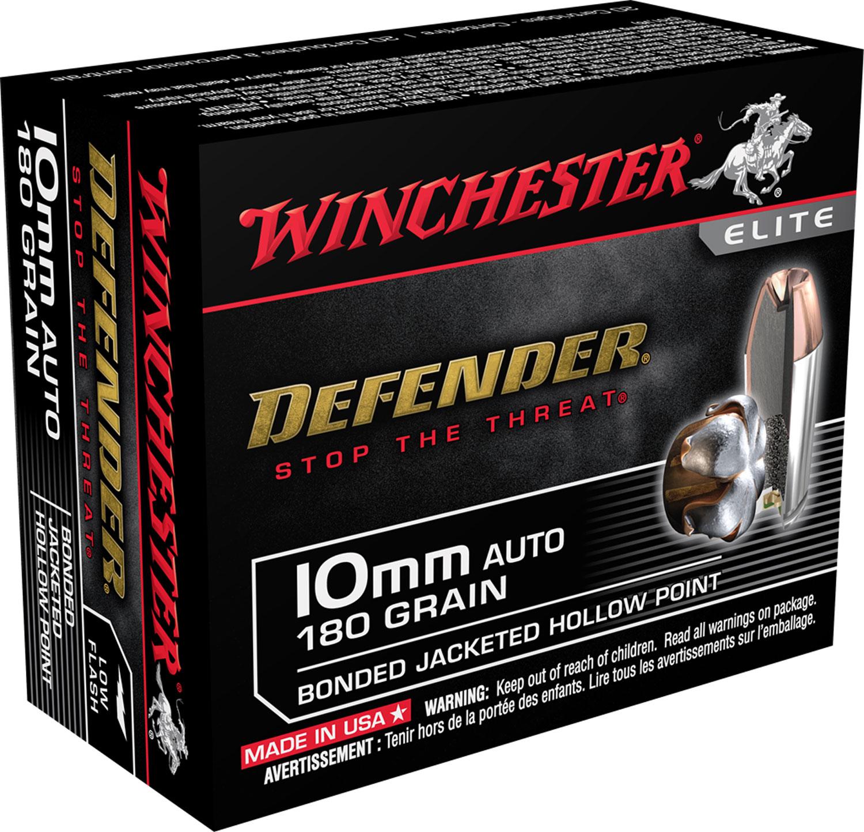 Winchester Ammo X10MMMPDB Defender Elite  10mm 180 GR Bonded Jacket Hollow Point 20 Bx/ 10 Cs