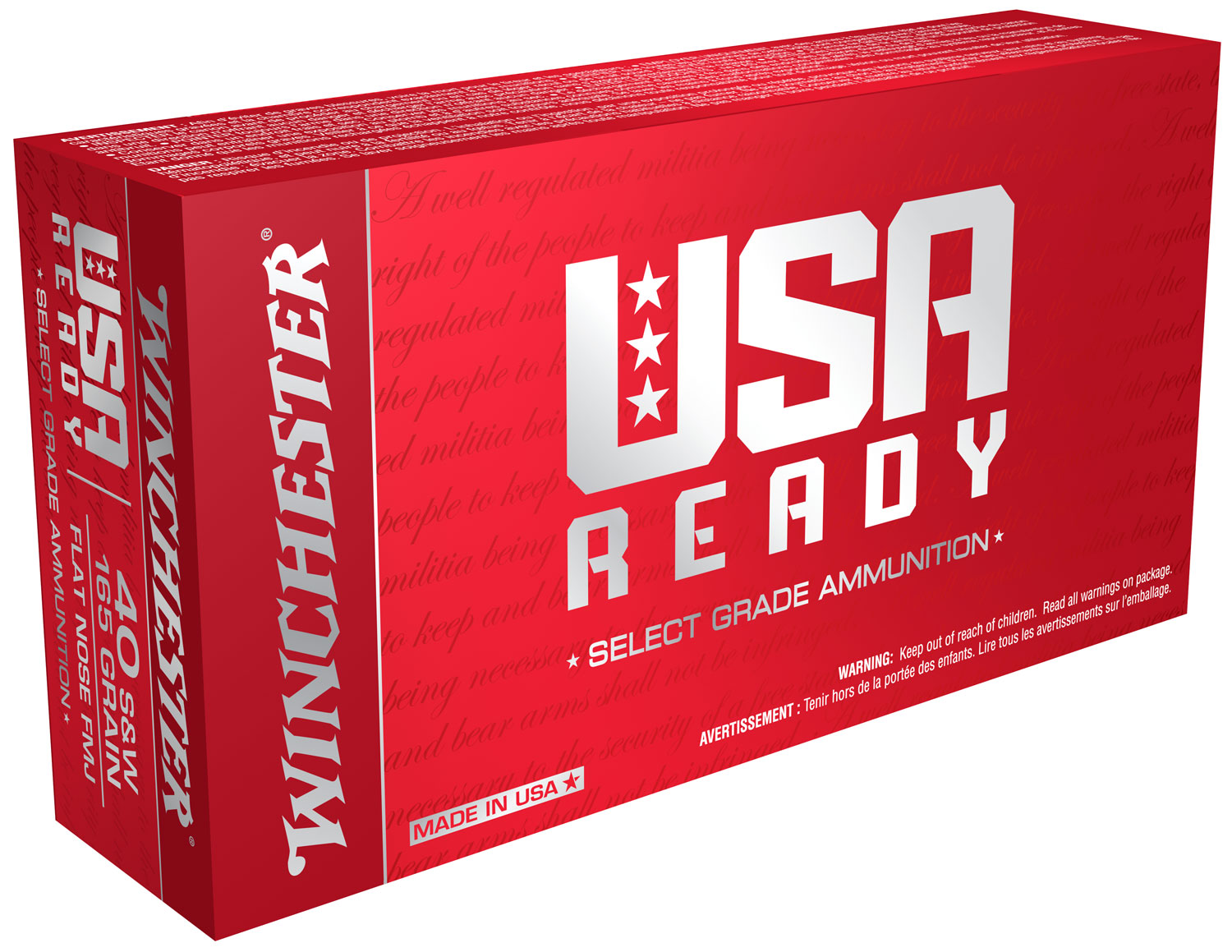 Winchester Ammo RED40 USA Ready USA  40 Smith & Wesson 165 GR Full Metal Jacket 10 Cs