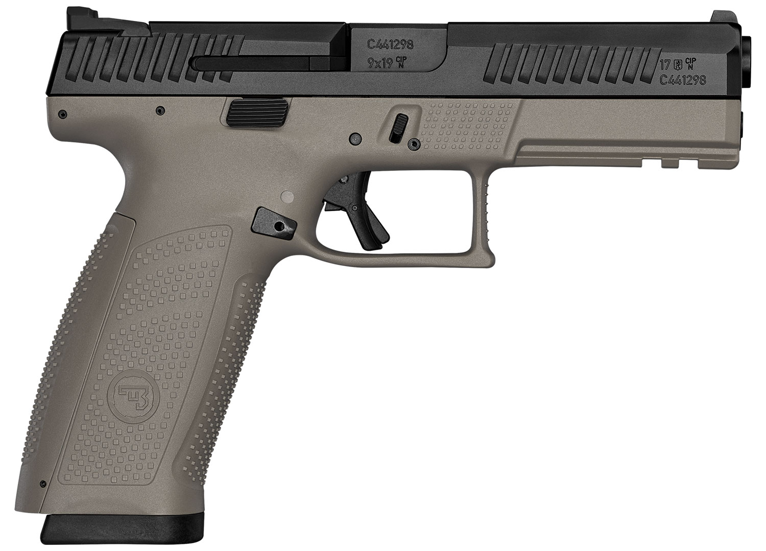 P-10 F 9MM BLK/FDE 10+1 NS - REVERSIBLE MAG CATCH