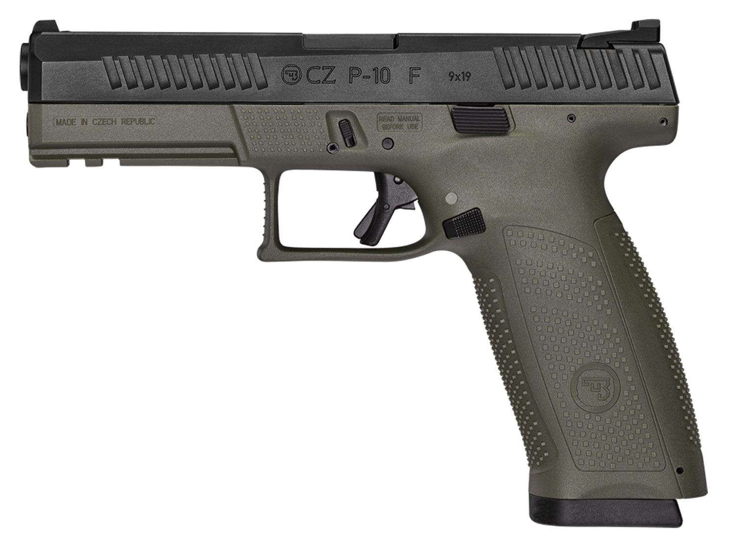P-10 F 9MM BLK/OD 10+1 NS - REVERSIBLE MAG CATCH