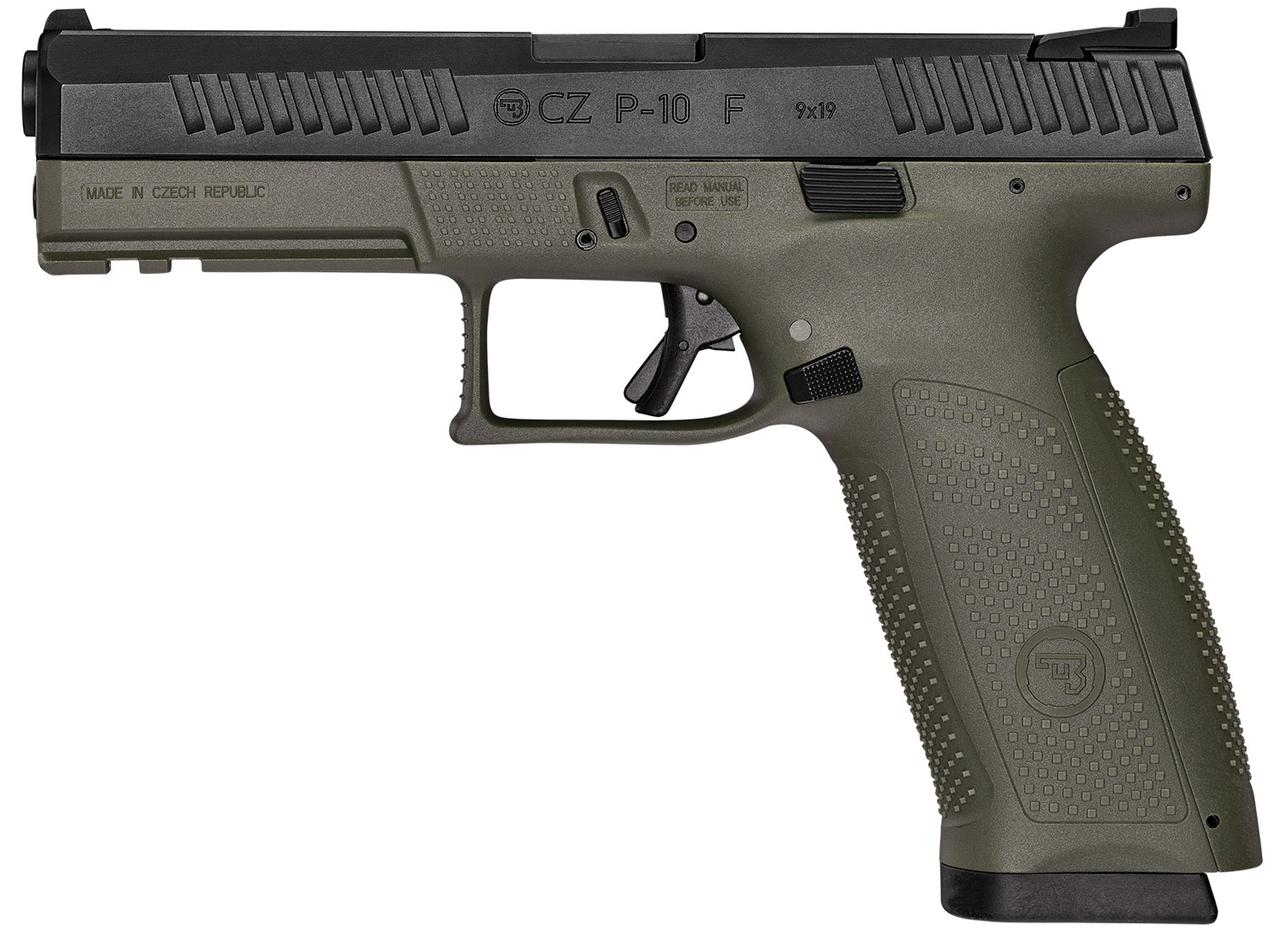 P-10 F 9MM BLK/OD 19+1 NS - REVERSIBLE MAG CATCH