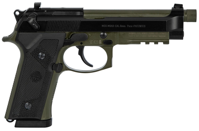 M9A3 9MM GRN/BLK 5 17+1 SFTY - GRN FRAME/BLK SLIDE|1/2X28 TPI