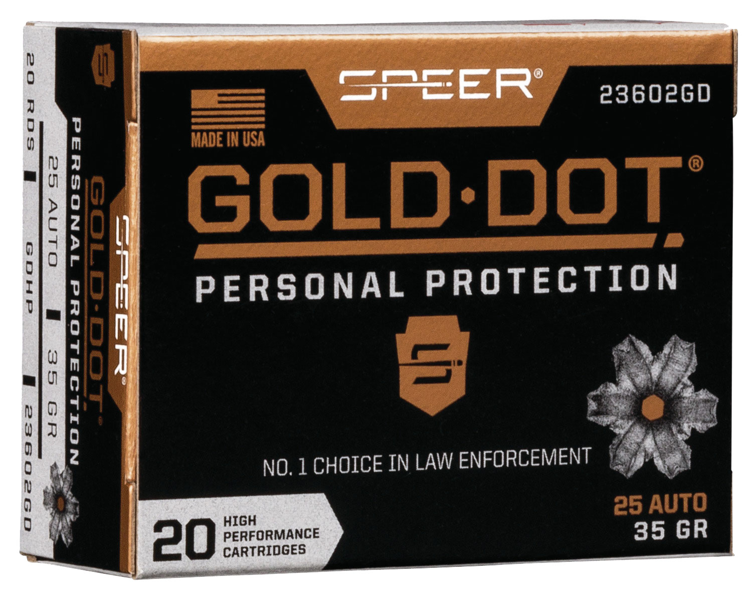 SPR GOLD DOT 25ACP 35GR HP 20/200