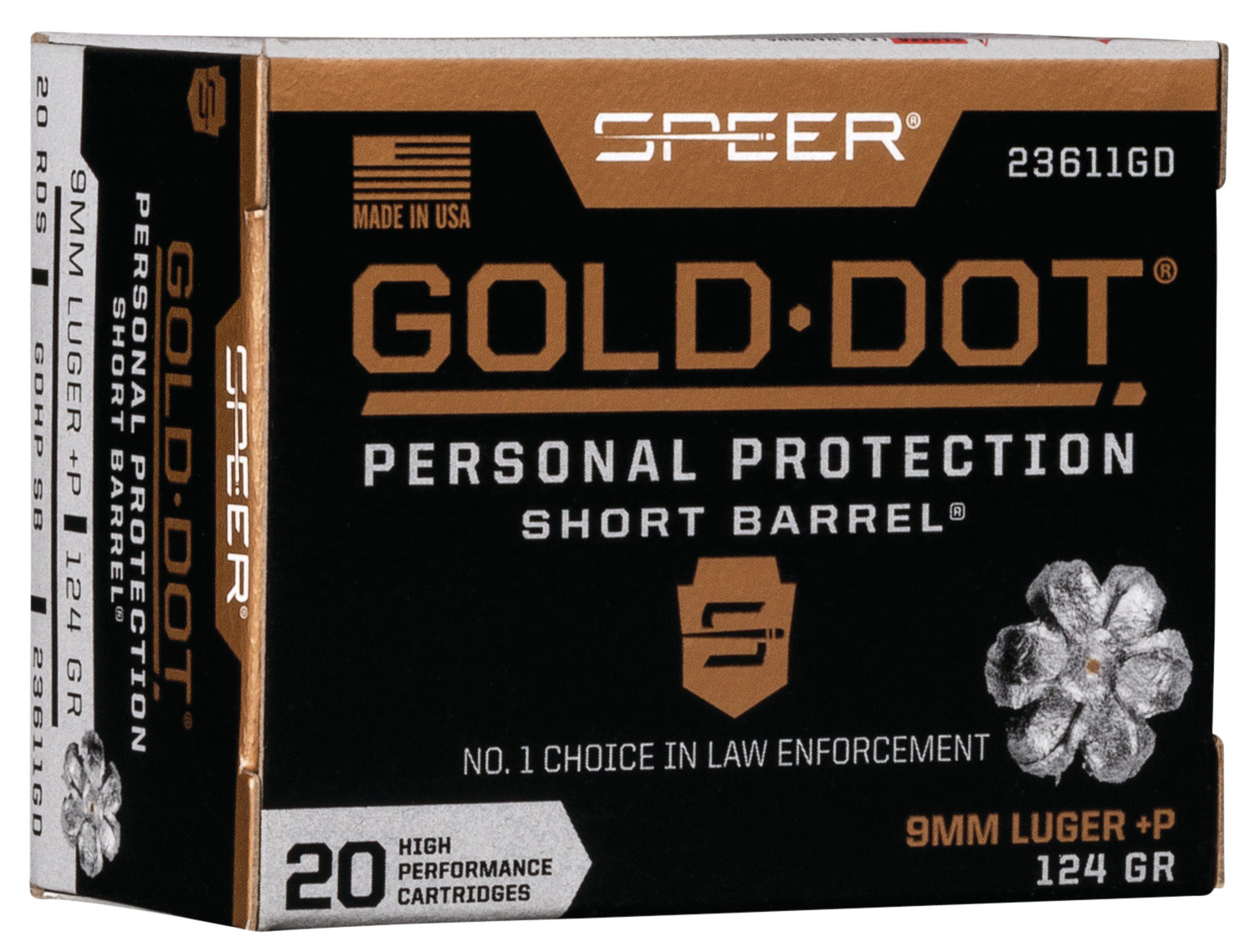SPR GOLD DOT 9MM+P 124G HP SB 20/200