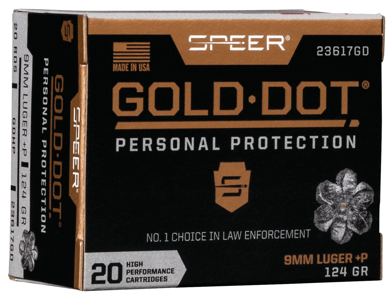 SPR GOLD DOT 9MM+P 124GR HP 20/200