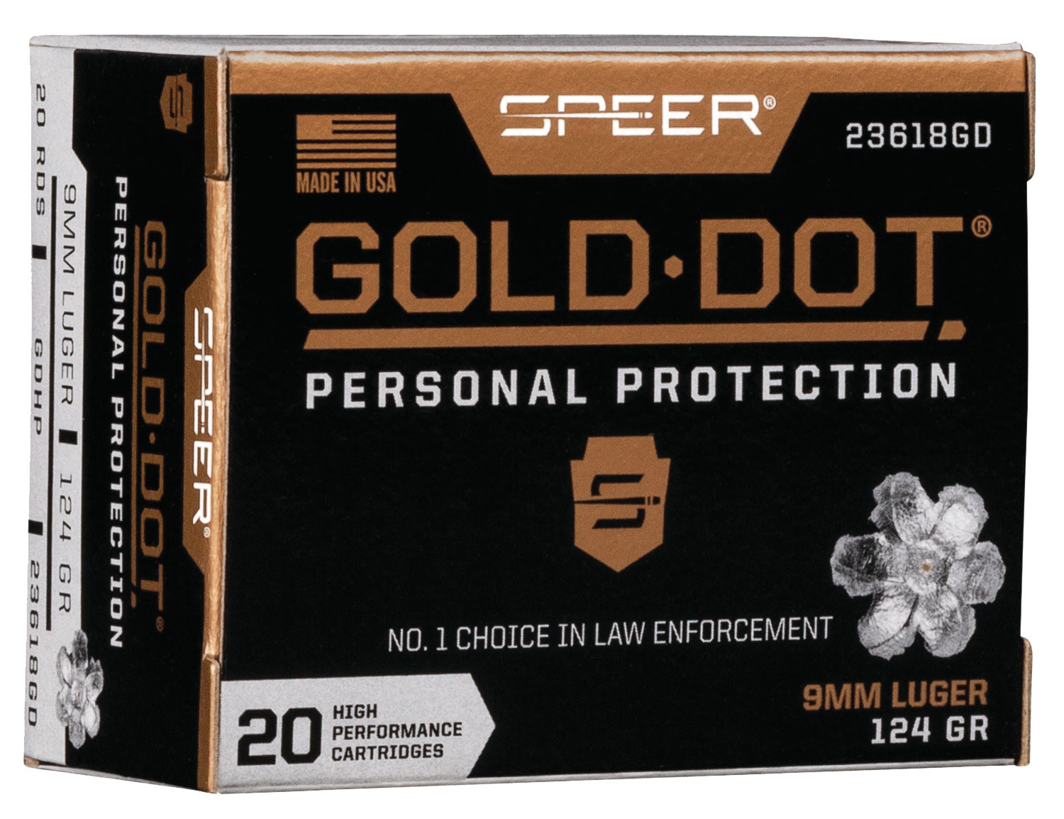 SPR GOLD DOT 9MM 124GR HP 20/200