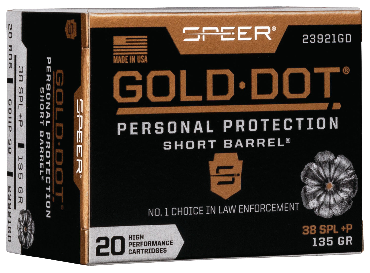 SPR GOLD DOT 38S+P 135G HP SB 20/200