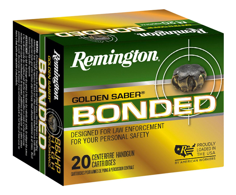 Remington Ammunition GSB9MMDB Golden Saber Bonded  9mm Luger 124 GR Brass Jacket Hollow Point 20 Bx/ 25 Cs
