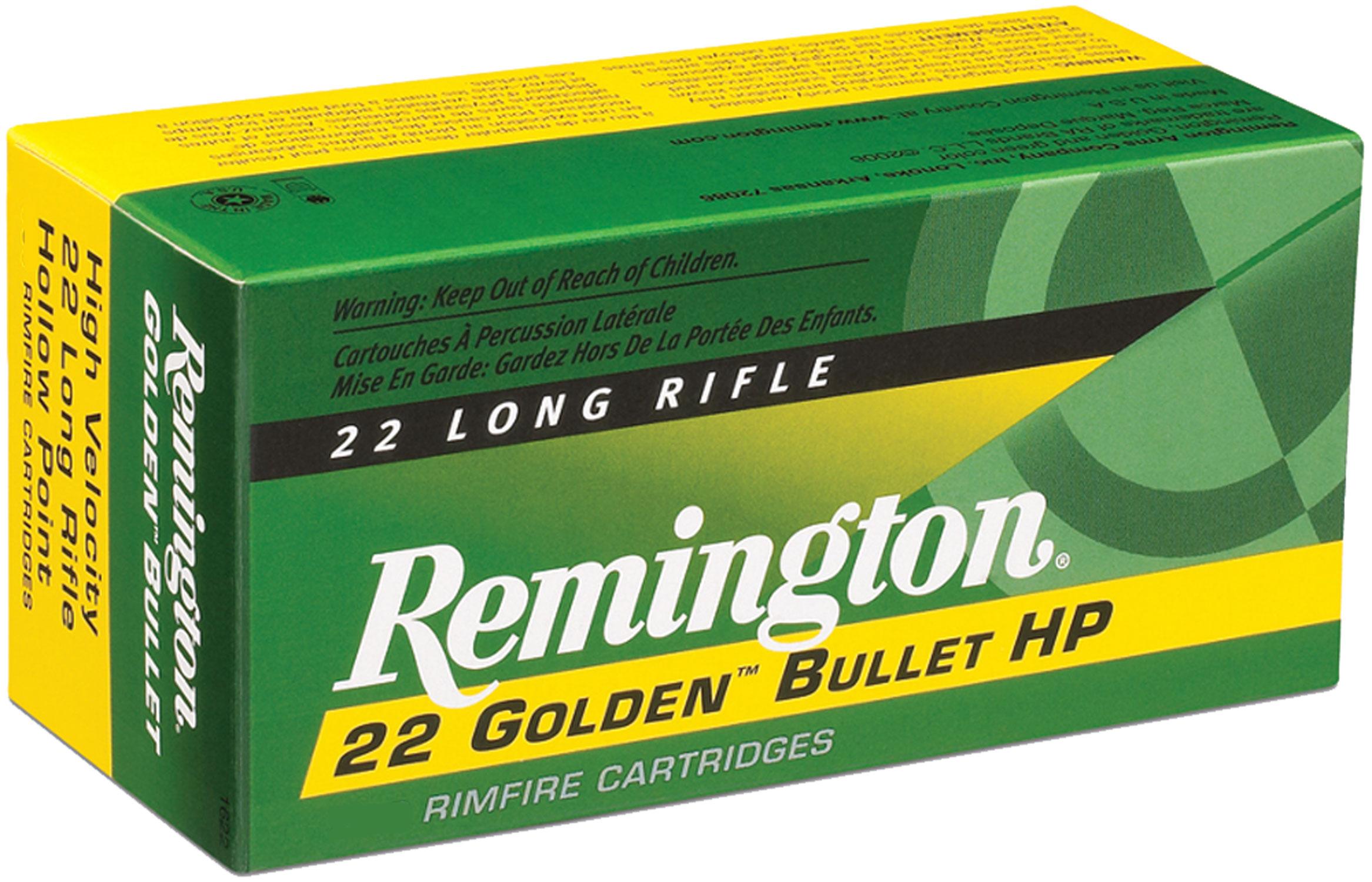 Remington Ammunition 21229 Golden Bullet High Velocity  22 Long Rifle (LR) 36 GR Plated Hollow Point 225 Bx/ 10 Cs
